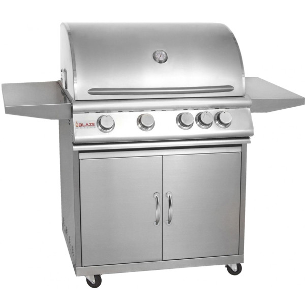 Blaze 32 Inch 4-Burner Grill With Rear Burner On Cart